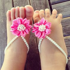 Baby barefoot sandals, baby girls jewelry, baby shoes, infant, children, pink flower, baby shower gift, flower girl, baby bracelet on Etsy, $21.99