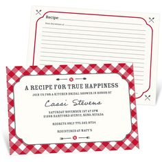 Pear Tree invitations are designed to stand out from the rest!  Personalize the Gingham Recipe Bridal Shower Invitations with your choice of text, color, and fonts.