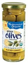Mediterranean Organic Whole Green Olives Sliced Lemon 8.6 oz.