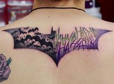 Check out these Batman tattoo design ideas. The Justice League hero from DC Comics is showcased in this list of Batman tattoos. Batman Joker Tattoo, Batman Symbol Tattoos, Marvel Tattoos, Joker Tattoos, Wolverine Tattoo, Future Tattoos, Tattoos For Guys, Body Art Tattoos, Sleeve Tattoos