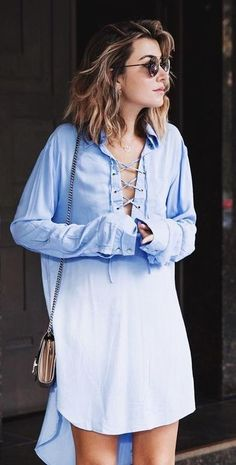 Lace Up High And Low Shirt Dress