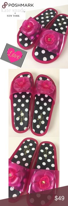 "$128 Kate Spade ""Splash"" Pink Jelly Sandals KATE SPADE ""SPLASH"" Pink Swirl Jelly Slides Sandals  Padded Polka Dot Insole Decorative Rosette on Vamp Silver Tone Kate Spade Medallion Inside Rosette  Retail $128  Fast Shipping! Smoke Free Pet Free Home kate spade Shoes Sandals"