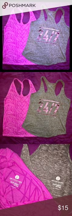 2 Old Navy Active Tank Tops Pair of Old Navy workout tops. Racerback. Great used condition. Some pulling, no stains/holes/rips. Semi-fitted. Both are size large. Old Navy Tops Tank Tops