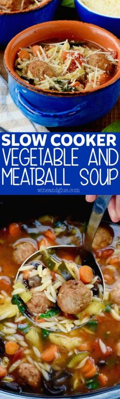 This AMAZING Slow Cooker Vegetable and Meatball Soup comes together in a snap and is only 377 calories a bowl!