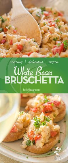 """This white bean bruschetta answers the challenge of """"just bring an appetizer"""". So often when at a party or gathering, the appetizers include cheese or dairy or small bites of fish or meat. This White Bean Bruschetta is easy, tasty and pretty. Offering to bring it is also a great way to put a non vegan host at ease. Or, you can just enjoy it at home! Full recipe at fullofbeans.us"""