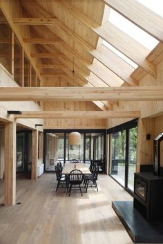 Waterfront Cottage Inspired by Old Chilean Country Barn Contemporary Waterfront Cottage Inspired by Old Chilean Country Barn Architecture Plan, Interior Architecture, Modern Interior, Interior Design, Waterfront Cottage, Casa Patio, Country Barns, Cabin Interiors, Rustic Interiors