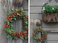 Lovely wreath with rose hips