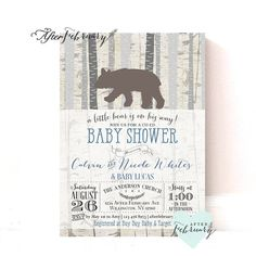 Bear Baby Shower Invitation // Baby Boy Shower Invite // Bear Shower Invites // Birch Trees Vintage Retro Rustic // Printable No.947