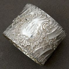 Antique French Sterling Silver Napkin Ring Ornate Louis XVI Rococo Spiraled Pattern Flowers, Rocailles 51.3 grams