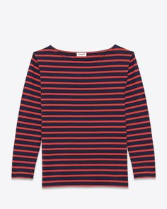 #ChristmasWhishlist.............. saintlaurent, CLASSIC MARINIÈRE Long sleeve Top IN Navy Blue and Red Striped Cotton Jersey