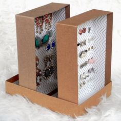 I hate throwing away these adorable boxes every month, so instead I upcycled them into this incredible earring organizer! You won't believe