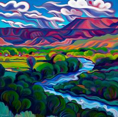 Tracy Turner New Works Gallery *perfect colors for the Sandias! Landscape Art, Landscape Paintings, Landscapes, Southwestern Art, Mexico Art, Guache, Colorful Paintings, Naive Art, Native American Art