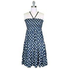 Blue & White Polka Dot Print Halter Style Sun « Dress Adds Everyday