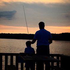 Like father like son. #donotdisturb #memoriesinthemaking #fishing #sunset by annadelewski