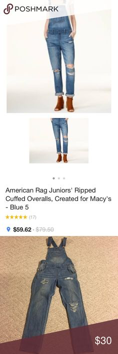American rag overalls size 9 American rag distressed overalls jeans. Still available at Macy's. Size 9. You can wear them cuffed or down. American Rag Jeans Overalls