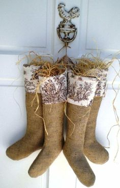 Burlap Christmas Stocking Decor for the door instead of a wreath!!!