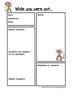 Classroom Freebies: Substitute Report