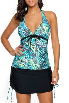 6a9a445216 10.33 Blue Green Print Bead Tie Tankini and Skirt Swimsuit Maternity Styles,  Maternity Gowns