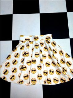 CRAZY SEXY COOL! Tailored skater skirt ft. #OMIGHTY OG sunglass emoji print Fit…