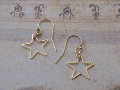 Gold Star Earrings, Simple Earrings, Sterling Silver Earrings Studs, Dangle Earrings, Etsy Earrings, Moon Jewelry, Star Jewelry, Gold Stars, Earrings Handmade