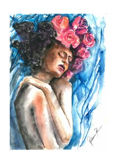 Art by Rubiana Reolon #girl #pastelseco #watercolor #flowers #illustration #art #botanic #botanical