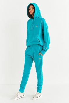 Champion Urban Outfitters hoodie track jogger pants set turquoise blue Hoodie Sweatshirts, Hoodies, Athleisure Trend, Athleisure Fashion, Best Tracksuits, Urban Outfitters, Champion Clothing, Sweats Outfit, Winter Travel Outfit
