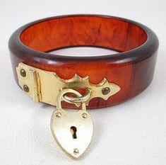 Tortoise Bakelite Bracelet with Padlock Hardware