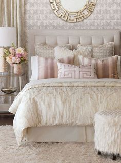 Stunning Classy Master Bedroom Design and Decor Ideas What's Decoration? Decoration may be the art of … Cozy Bedroom, Home Decor Bedroom, Bedroom Furniture, Bedroom Bed, Girls Bedroom, Bedroom Apartment, White Bedroom, Shabby Bedroom, Pretty Bedroom