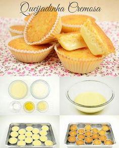 Ingredientes: - 1 xícara (chá) de coco em flocos desidratado - ¼ de xícara (chá) de água - 1 lata de leite condensado - 3 colheres (sopa) de queijo parmesão ralado - 2 gemas  Modo de fazer: - Em uma vasilha coloque todos os ingredientes. - Mexa por 1 minuto. - Coloque forminhas de papel dentro de forminhas de empada. - Com uma colher coloque a massa dentro das forminhas de papel. - Coloque 2 xícaras (chá) de água quente dentro de uma assadeira. - Coloque as forminhas dentro da assadeira…