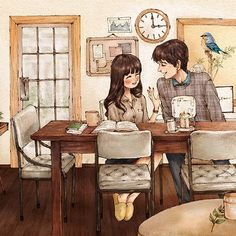 따뜻한 봄날, 둘만의 공간에서 함께 지내요. In a warm spring day, the two of us happily stay in the same place together, content with the company of one another.  #illust #illustration #instalove #instamood #drawing #sketch #romantic #love #spring #aeppol #together #일러스트 #일러스트레이션 #드로잉 #인스타러브 #로맨틱 #사랑 #애뽈