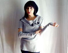 Grey sweatshirt with arm warmers included  by AliceCloset on Etsy, €60.00