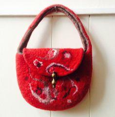 Felt handbag. wool felted handbag. merino wool by Beautifulfelts