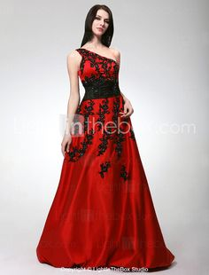A-line One Shoulder Floor-length Satin Prom Dress - USD $ 299.99 - not in this color obviously, thinking black on black or a really dark purple.  But this is gorgeous too.  LOVE this company