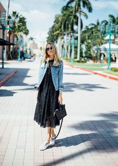 Yes, you can wear a jean jacket all year round. Here are 51 outfit ideas that prove you can style the denim staple for winter, spring, summer, or fall. Dress With Jean Jacket, Jean Jacket Outfits, Fashion Me Now, Fashion Moda, Style Fashion, Fashion Ideas, Black Lace Skirt, Instagram Outfits, Dress With Sneakers