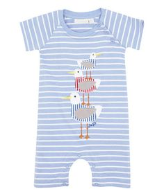 This Blue & White Stripe Seagull Romper - Infant is perfect! #zulilyfinds