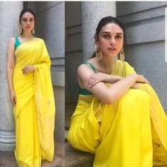 Best Contrast Blouse Ideas To Try With Yellow Saree.' In Pic: Aditi Rao Hydari in yellow with green saree blouse. Blouse Back Neck Designs, Saree Blouse Designs, Blouse Patterns, Indian Attire, Indian Outfits, Indian Wear, Pakistani Outfits, Indian Style, Indian Ethnic