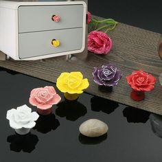 1pcs Vintage Rose Flower Ceramic Knob Cabinet Drawer Kitchen Cupboard Pull Handle   LT563 #shoes, #jewelry, #women, #men, #hats