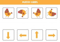 Orientation For Kids. Match Cards With Arrows And Cute Hen.