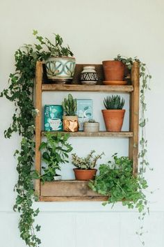 A beautiful and simple kitchen shelf, made from rustic pallet wood to hold herbs and capture the fascinating magic of plants. A beautiful and simple kitchen shelf, made from rustic pallet wood to hold herbs and capture the fascinating magic of plants. Diy Kitchen Shelves, Bathroom Shelves, Kitchen Cabinets, Boho Dekor, Decoration Plante, Home And Deco, My New Room, Indoor Plants, Ivy Plant Indoor