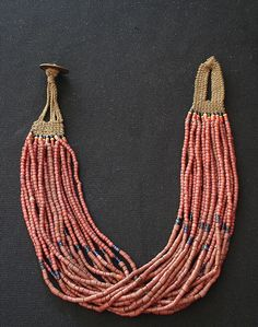 This is a very rare type of the multistrand antique glass trade bead necklace worn by Konyak tribe Naga men and women in the northwest hills...