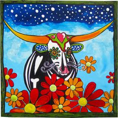 """Texas Longhorn in the Day of the Dead (Dia de los Muertos) style, painted by Texas artist, RobiniArt. Sugar skull. Acrylic paint and pen on a 6"""" x 6"""", boxy wooden canvas. Can be purchased here: https://www.etsy.com/listing/126832283/day-of-the-dead-style-portrait-of-a?"""