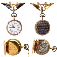 Antique Patek Philippe Diamond, Enamel, 18k Yellow Gold Lapel Watch. This very rare watch is accompanied by a letter from a very well know watch expert Abe Secofsky, stating he did research on the watch and Patek Philippe production records show the watch was completed in 1896 and exhibited at a Paris show two years later. See attached letter. Movement #110198, manual, stem wind, case #221967, 27 mm, inside case engraved M.L.C. from T.W.C./Saint Louis, accompanied by the original fitted…