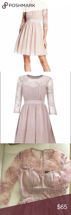 LONDON DRESS COMPANY 3/4 SLEEVE DRESS MINK LACE 3/4 sleeve fit and flare dress in a beautiful light mauve. london dress company Dresses Midi