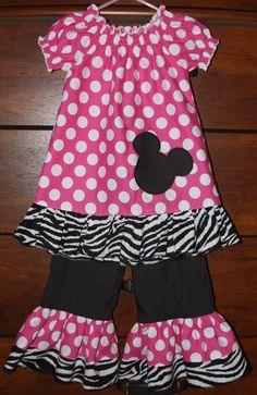 The Minnie Mouse Zebra Ruffle Outfit - Custom Boutique Clothing - 6m, 12m, 18m, 2t, 3t, 4t, 5t, 6t - Ruffle Pants and Ruffle Top on Etsy, $40.00 Ruffl Outfit
