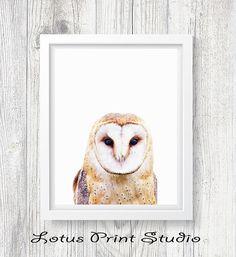 Owl Print Snow Owl Wall Art Nursery Poster Bird Print Kids