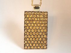 """Fitbit One pendant / necklace - Rectangle """"Honeycomb"""" Gold tone with gold leather"""