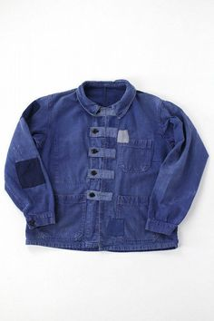 French vintage patched work jacket/France 1960's/blue/patchwork/repaired/hand-stitched/297