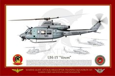"""UH-1Y_HMLAT-303_OFFICIAL PRINT    Manufacturer: Bell  Model: UH-1Y Venom  Serial s/n: 167796  Tail Code: QT / 510    UNITED STATES MARINE CORPS    MARINE LIGHT ATTACK HELICOPTER TRAINING SQUADRON 303 (HMLA/T-303) """"ATLAS""""  MARINE CORPS AIR STATION CAMP PENDLETON Attack Helicopter, Military Helicopter, Military Aircraft, Us Marine Corps, Aviation Art, Military Art, War Machine, Usmc, Illustrations"""