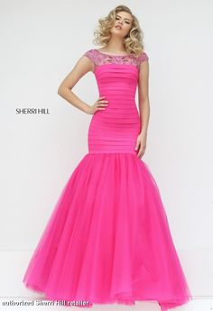 50014 Sherri Hill. Sherri Hill Prom 2016. Prom 2016. Sherri Hill designs. Sherri Hill Prom dress. pink prom dress. bright pink prom dress. get prom ready. get prom fit. bubble gum pink prom dress. mermaid style prom dress.
