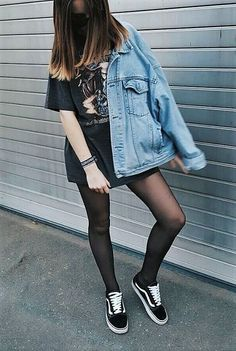 Grunge winter outfits · sunglasses, band oversized graphic top, denim jacket, tights & vans shoes by nele Grunge Outfits, Edgy Outfits, Cool Outfits, Skater Outfits, Scene Outfits, Simple Outfits, Style Grunge, Grunge Look, Neo Grunge